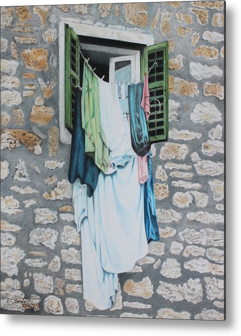 Drawing Metal Print featuring the drawing Clotheslines In Dobrovnik by Wilfrid Barbier