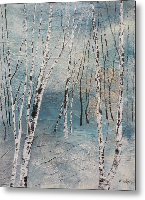 Mixed Media Metal Print featuring the painting Cluster Of Birches by Maria Karalyos