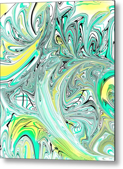Abstract Art Print Metal Print featuring the painting Crash Of The Peacocks by D Perry