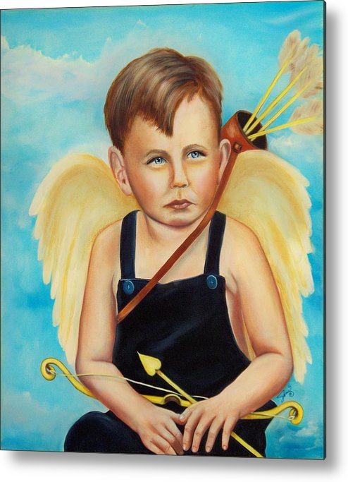 Angel Metal Print featuring the painting Cupid by Joni McPherson