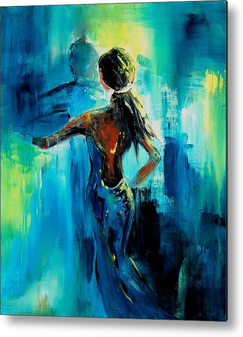 Nude Metal Print featuring the painting Dancing by Veronique Radelet