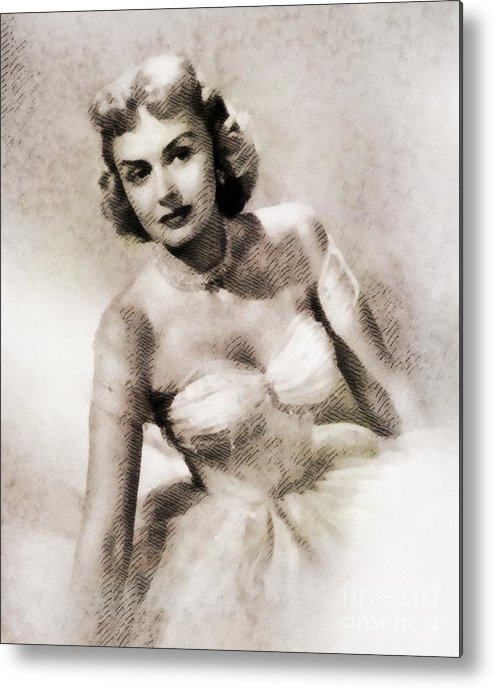 Hollywood Metal Print featuring the painting Donna Reed, Vintage Actress By John Springfield by John Springfield