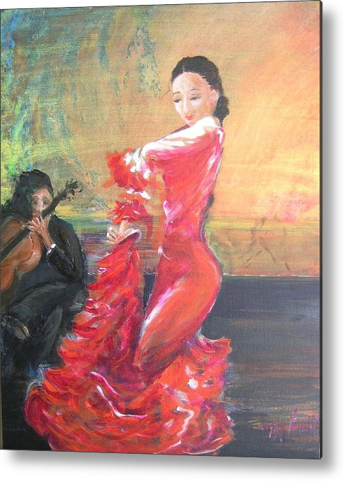 Gypsy Flamenco Dancer. Spanish Dancer Metal Print featuring the painting Duende by Lizzy Forrester