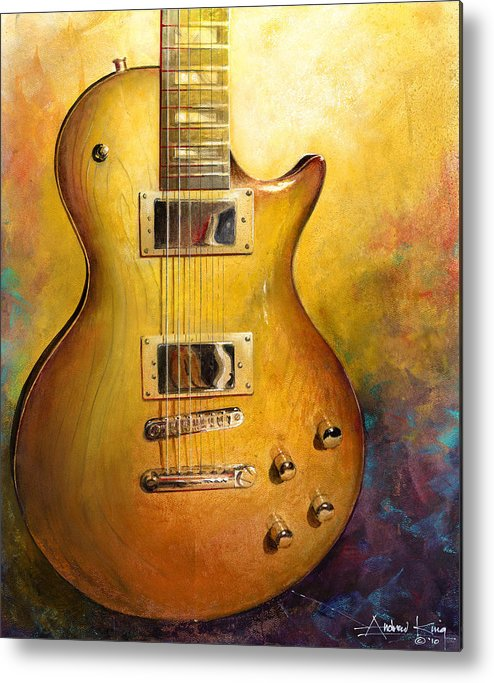 Guitar Metal Print featuring the painting Electric Gold by Andrew King