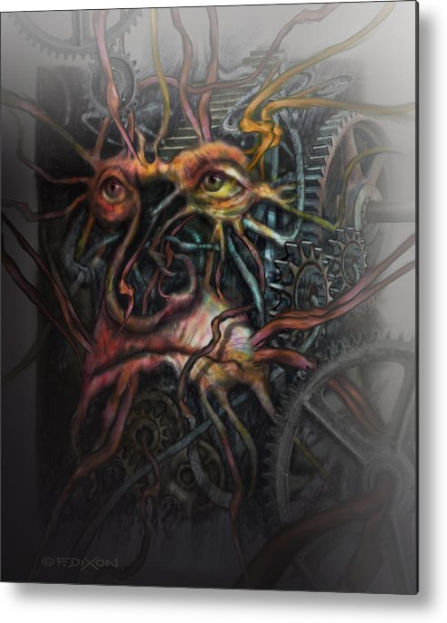 Watercolor Metal Print featuring the painting Face Machine by Frank Robert Dixon