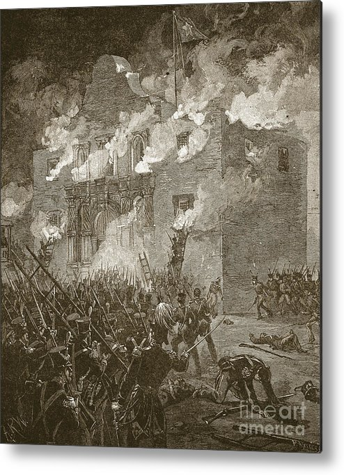 Fall Of The Alamo Metal Print featuring the drawing Fall Of The Alamo by Alfred Rudolph Waud