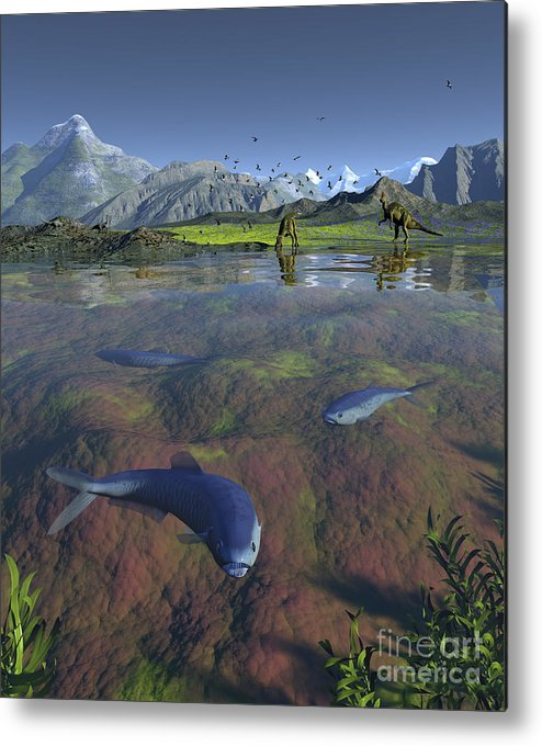 Earth Metal Print featuring the digital art Fanged Enchodus Predatory Fish by Walter Myers