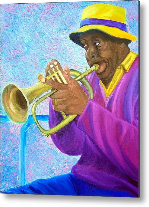 Street Musician Metal Print featuring the painting Fat Albert Plays The Trumpet by Michael Lee