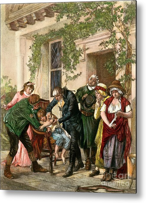 1796 Metal Print featuring the drawing First Vaccination, 1796 by Granger
