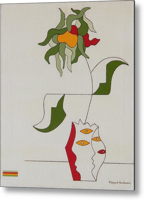 Flower Modern Constructivisme Special Original Metal Print featuring the painting Flower by Hildegarde Handsaeme