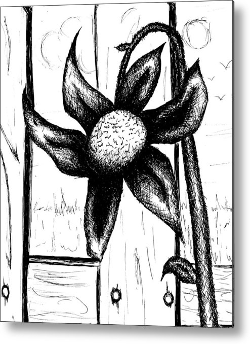 Flower Metal Print featuring the drawing Flower by Jera Sky