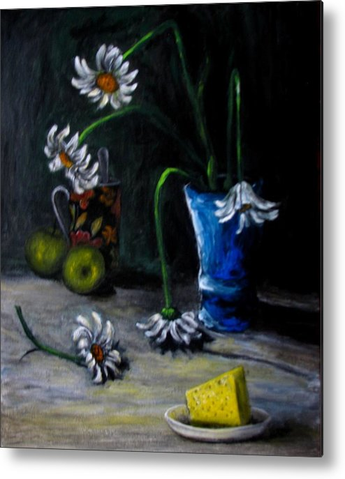 Flower Metal Print featuring the painting Flowers Camomiles Still Life Acrylic Painting by Natalja Picugina