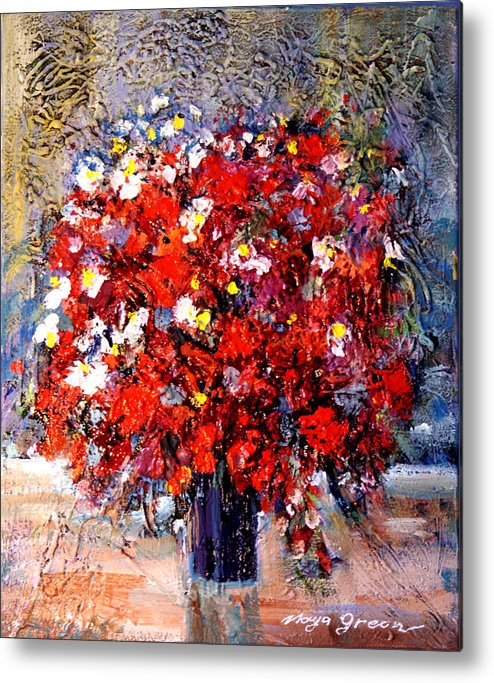 Artwork Metal Print featuring the painting Flowers For You by Maya Green