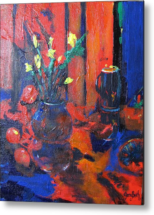 Flowers Metal Print featuring the painting Flowers In Blue Vase by Gary Smith