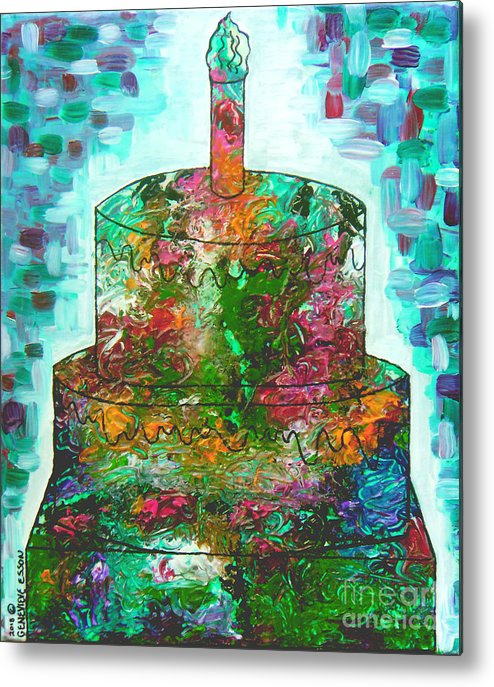 Birthday Cake Metal Print featuring the painting Garden Cake by Genevieve Esson