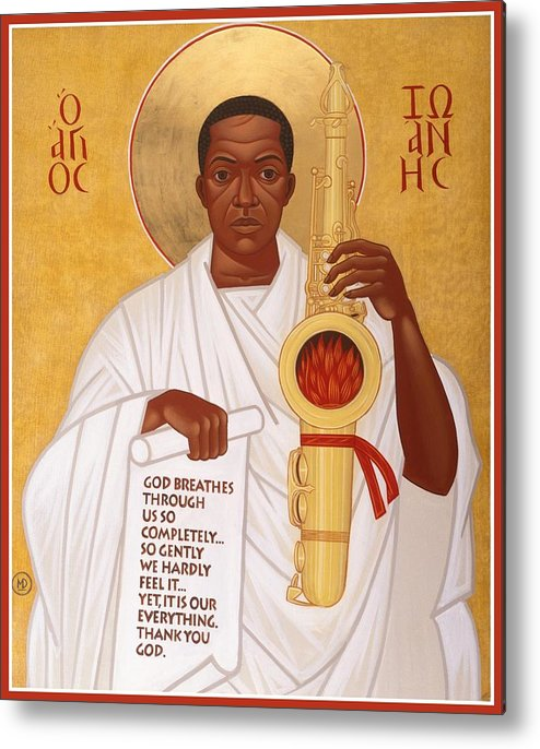 Saint John Coltrane. Black Christ Religion Metal Print featuring the painting God Breathes Through The Holy Horn Of St. John Coltrane. by Mark Dukes