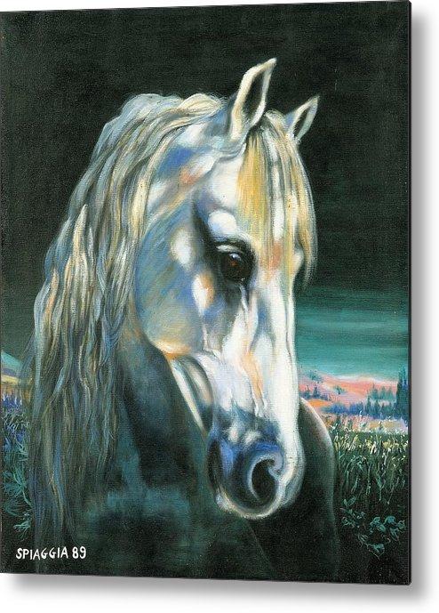 Horse Metal Print featuring the painting Gringo Etalon Portugais by Josette SPIAGGIA