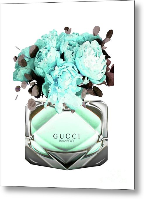 Gucci Metal Print featuring the mixed media Gucci Blue Perfume by Del Art