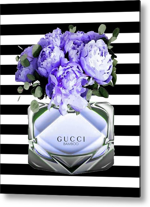 Gucci Metal Print featuring the mixed media Gucci Perfume Violet by Del Art