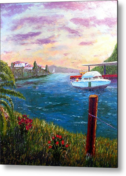 Original Oil On Wood Panel Metal Print featuring the painting Harbor by Stan Hamilton