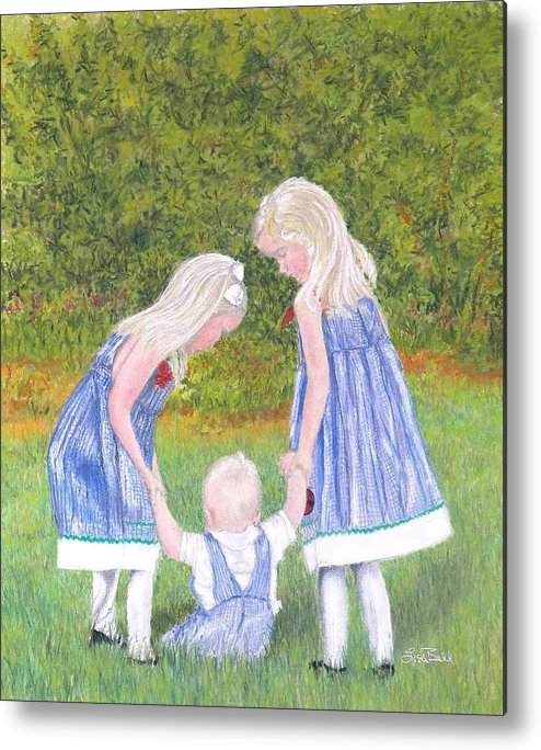 Children Metal Print featuring the pastel Helping Hands by Lisa Bell
