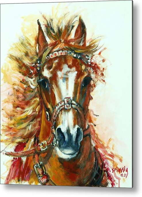 Horse Metal Print featuring the painting Hmar Pur-sang Arabe by Josette SPIAGGIA