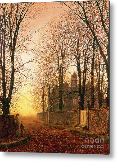 In The Golden Olden Time Metal Print featuring the painting In The Golden Olden Time by John Atkinson Grimshaw