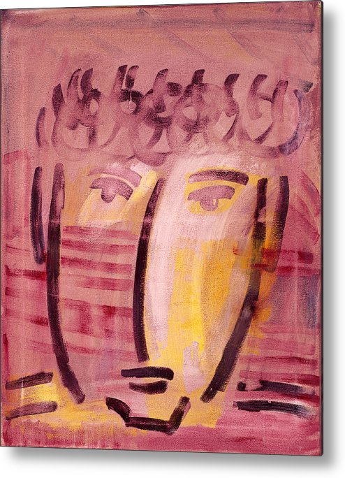 Abstract Metal Print featuring the painting Inca Head by Michael Keogh