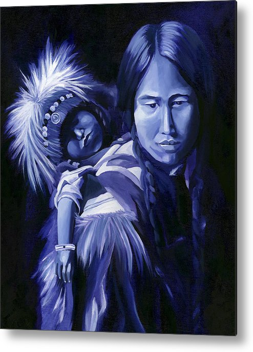 Native American Metal Print featuring the painting Inuit Mother And Child by Nancy Griswold