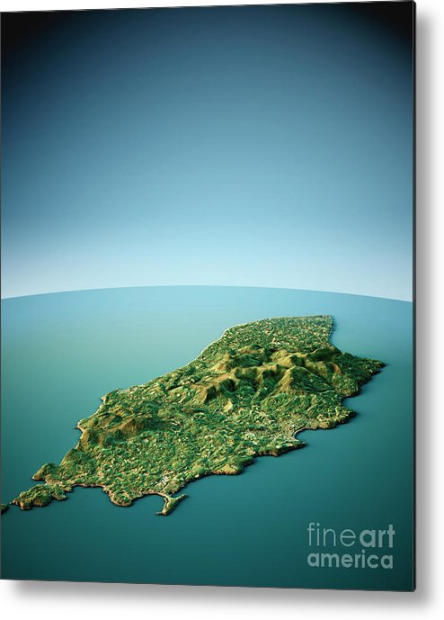 Isle Of Man Metal Print featuring the digital art Isle Of Man 3d View South-north Natural Color by Frank Ramspott