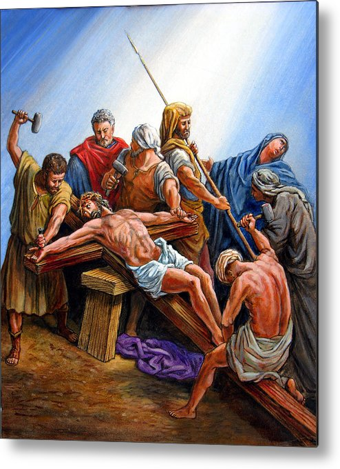 Jesus Nailed To The Cross Metal Print by John Lautermilch