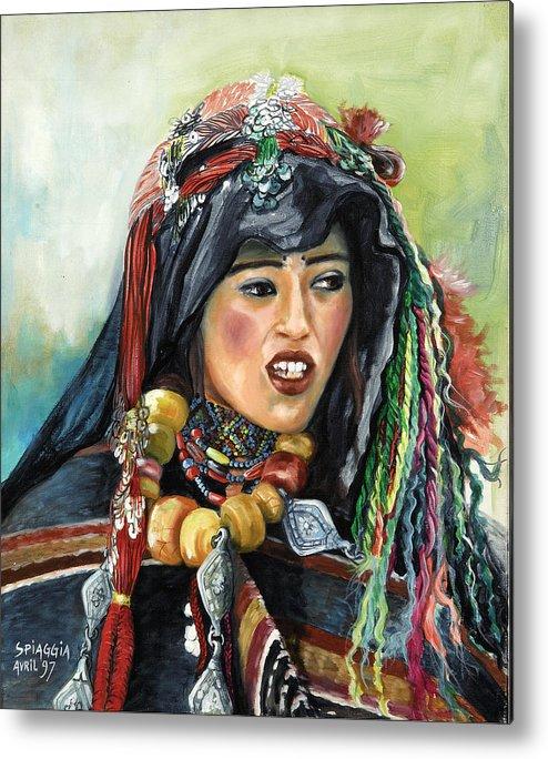 Morocco Metal Print featuring the painting Jeune Femme Berbere De Atlas Marocain by Josette SPIAGGIA