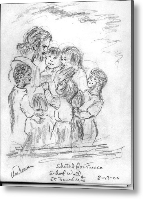Sketch Jesus Chldren Religious Metal Print featuring the drawing Keep Not The Children From Me by Alfred P Verhoeven