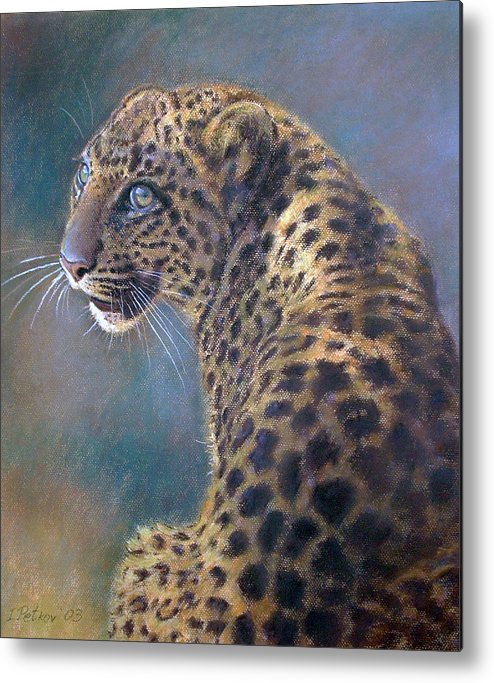 Cats Metal Print featuring the pastel Leopard by Iliyan Bozhanov