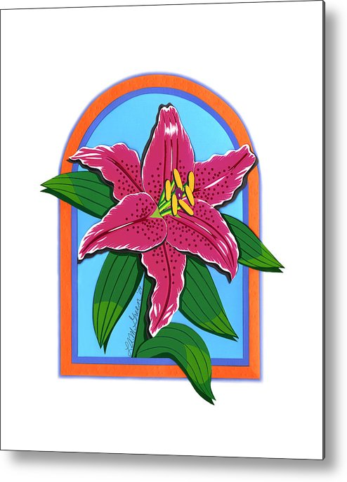 Nature Metal Print featuring the drawing Lily Too by Lucyna A M Green