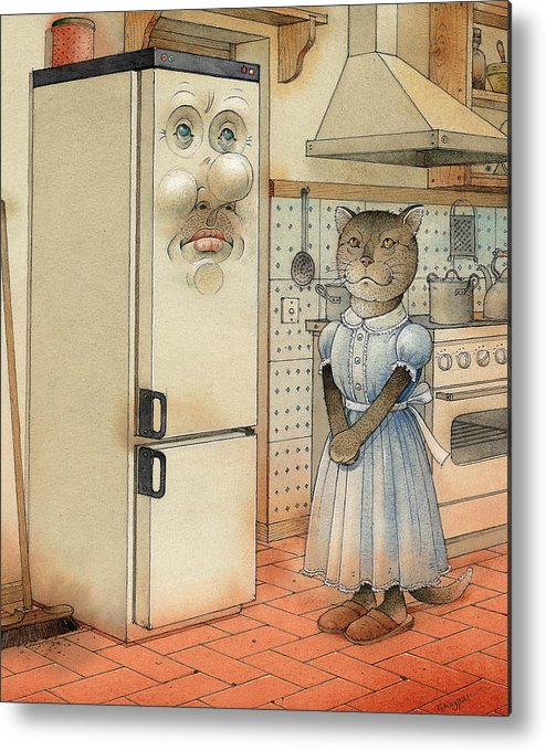 Cat Kitchen Love Metal Print featuring the painting Love Story by Kestutis Kasparavicius