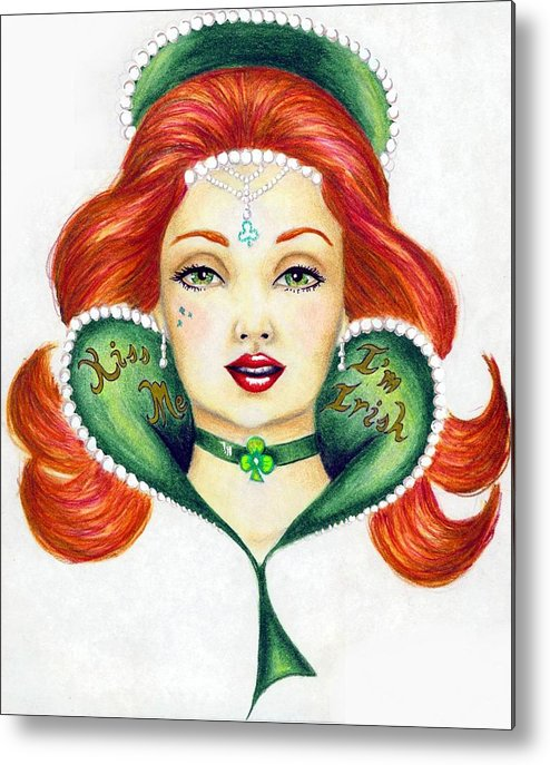 Face Metal Print featuring the drawing Lucky Charms by Scarlett Royal