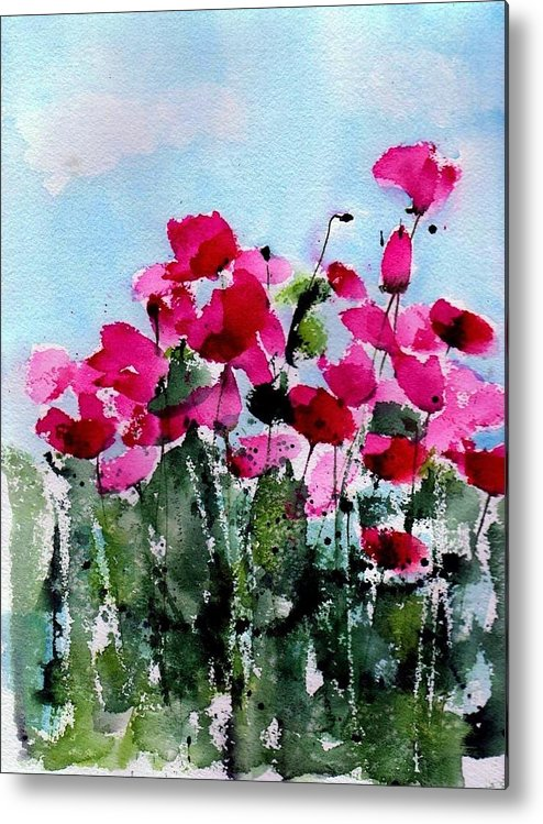 Poppies Metal Print featuring the painting Maddy's Poppies by Anne Duke