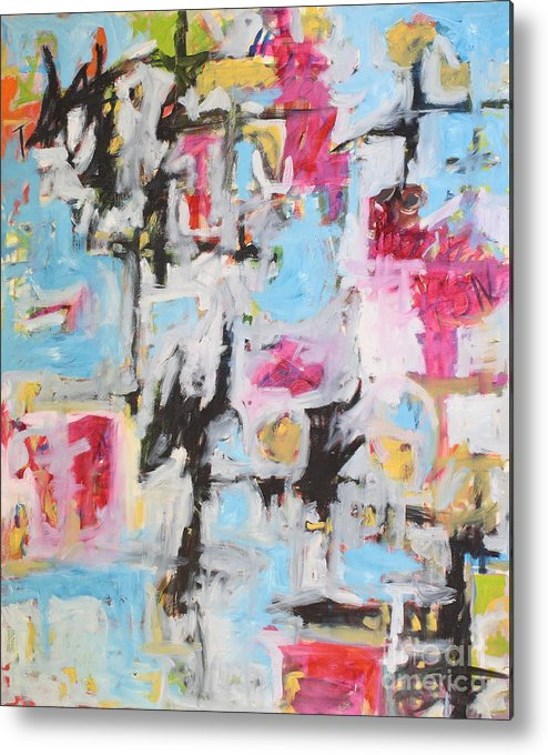Painting Metal Print featuring the painting Magenta Abstract I by Michael Henderson