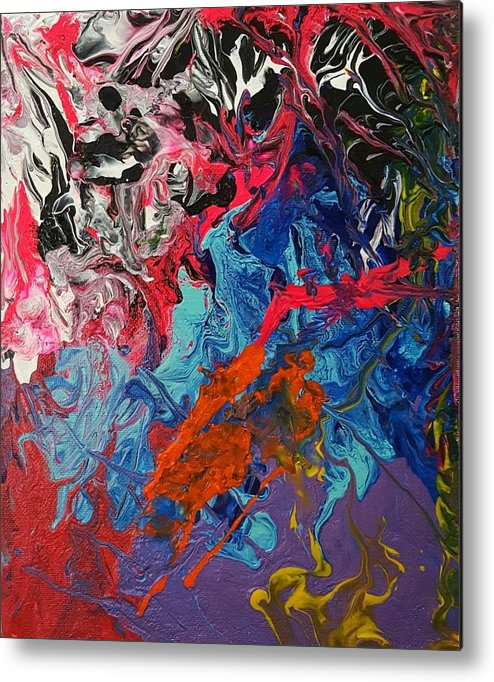 Abstract Metal Print featuring the painting Magma by Shelly Slade