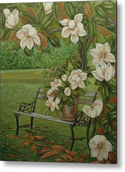 Magnolia Metal Print featuring the painting Magnolia Tree by Tresa Crain