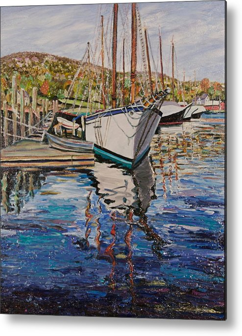 Maine Metal Print featuring the painting Maine Coast Boat Reflections by Richard Nowak