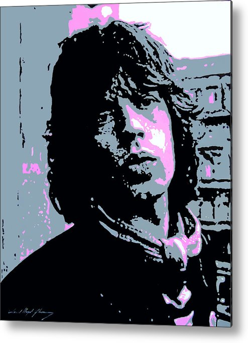 Mick Jagger Metal Print featuring the painting Mick Jagger In London by David Lloyd Glover