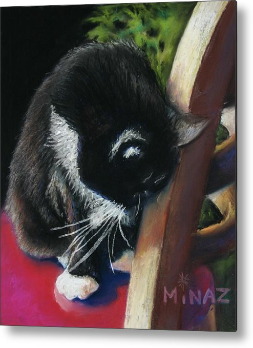 Cat Metal Print featuring the painting Kitty Chair by Minaz Jantz