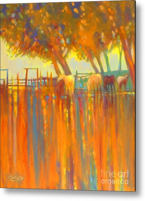 Horse Painting Metal Print featuring the painting Morning Shadows by Kip Decker