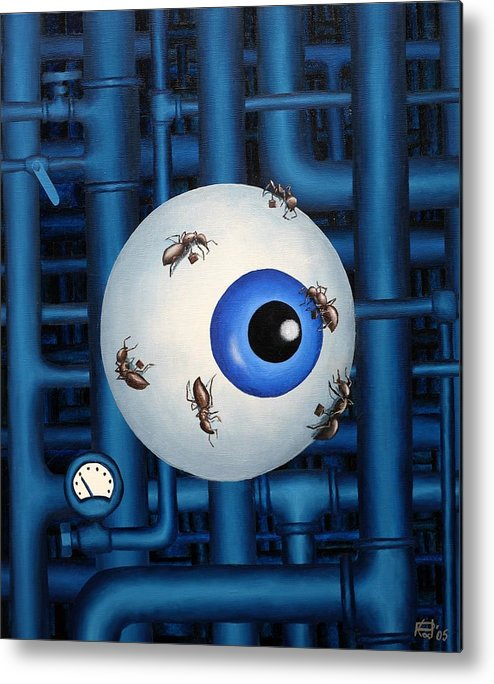 Steampunk Pipes Eye Ants Clock Industrial Surreal Metal Print featuring the painting My Day Job by Poul Costinsky