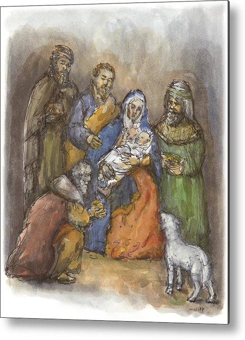 Nativity Metal Print featuring the painting Nativity by Walter Lynn Mosley