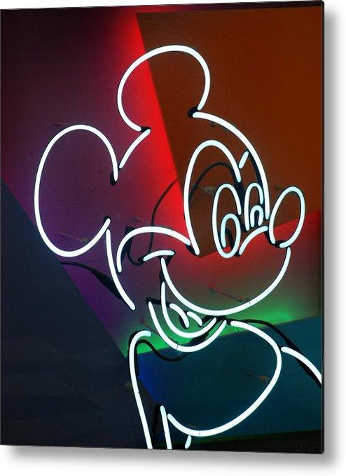 Walt Disney World Metal Print featuring the photograph Neon Mickey by Rob Hans