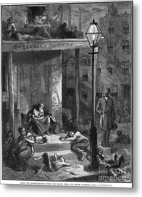 1879 Metal Print featuring the photograph New York Poor In Summer by Granger