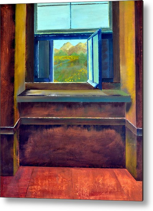 Trompe L'oeil Metal Print featuring the painting Open Window by Michelle Calkins